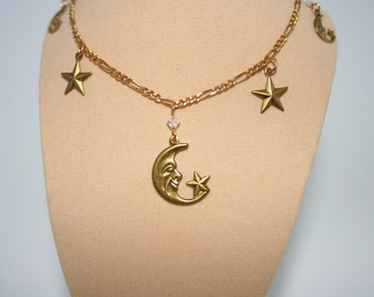 Vintage Style Necklace of Moons and Stars