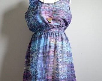 Vintage Sheer Geometric Dress M