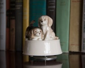 "OTAGIRI Vintage PUPPIES Rotating Music Box - ""How Much is that Doggy in the Window"""