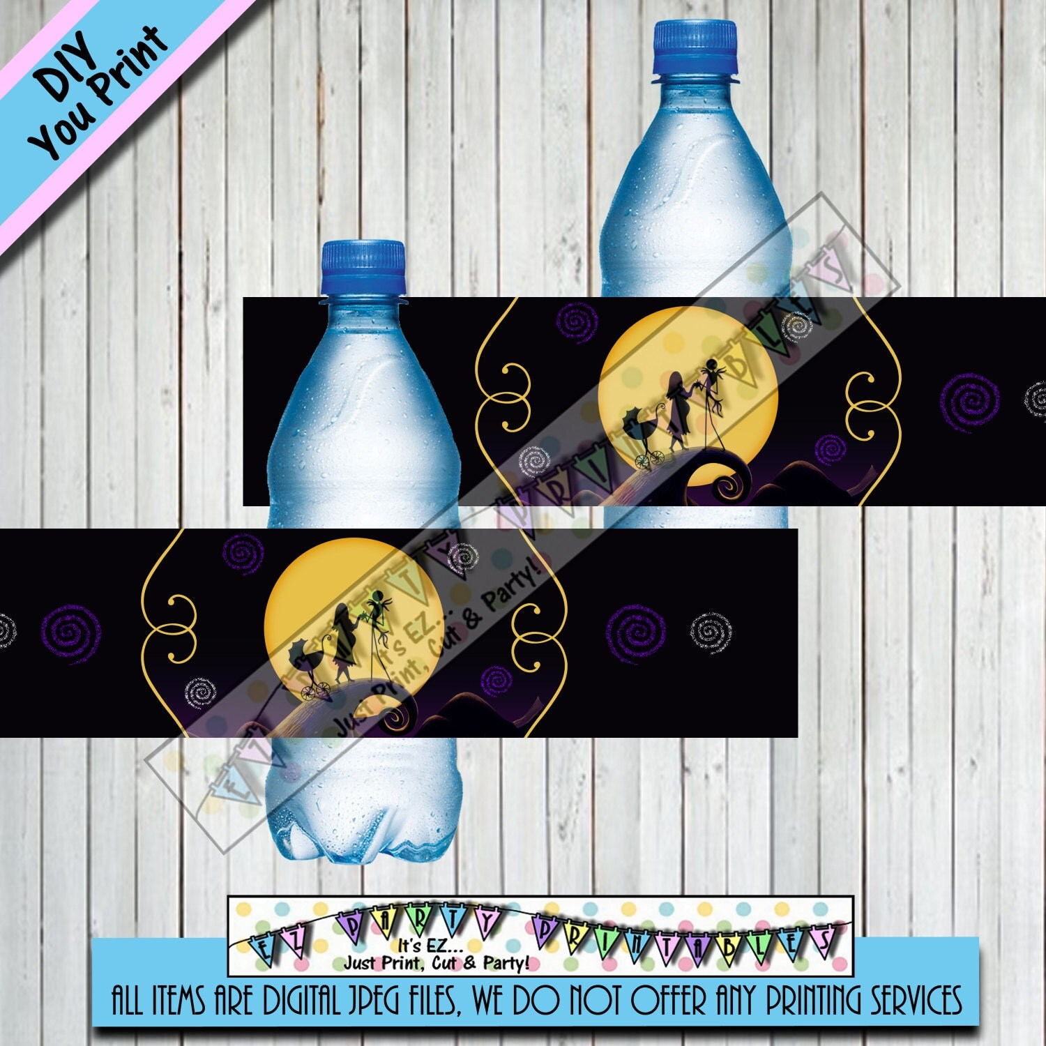 nightmare before christmas baby shower water bottle wrappers