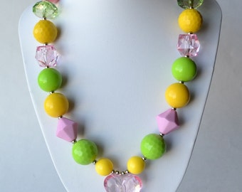 Pink, Lime & Yellow CHUNKY necklace with acrylic beads, tiger tail stringing, and metal toggle clasp