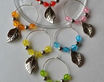Leaf wine charms with acrylica beads and accents