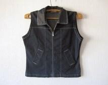 Blue Denim Waistcoat Women Very Thin Romantic Country Large Size Vest Zipper