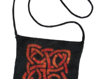 Celtic Design Wool Felt Purse, Grey and Orange Felt Bag, Celtic Knot Purse 8