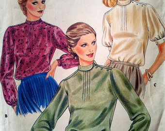 1970s Blouse Top Pattern, Butterick 3967 Size 8 Bust 31.5 Women's Vintage Sewing Pattern, Long or Short Puffed Sleeves, Loose-fitting, UNCUT