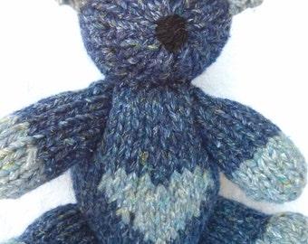 Scott the Hand Knit Teddy Bear, Knitted Bear, Knitted Toys, Bear, Children, Baby, Gift, Stuffed Animal, Toy, Hand Knit Toy, children's toy