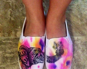 Watercolor Geometric Elephant Shoes
