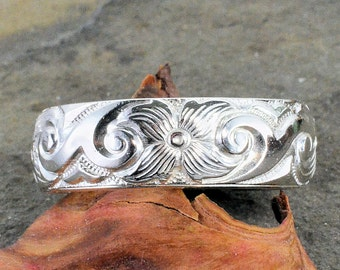 Antique Style 6.2mm Floral Pattern Wedding Band - Stacking Band in Sterling Silver - WB1002