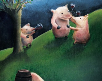 Pigs Art Print. Quirky Illustration. Animal Art. Fine Art Print
