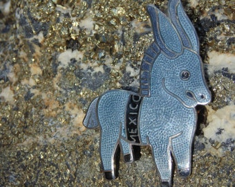 Margot De Taxco ~ Sterling Silver and Enamel Donkey Brooch
