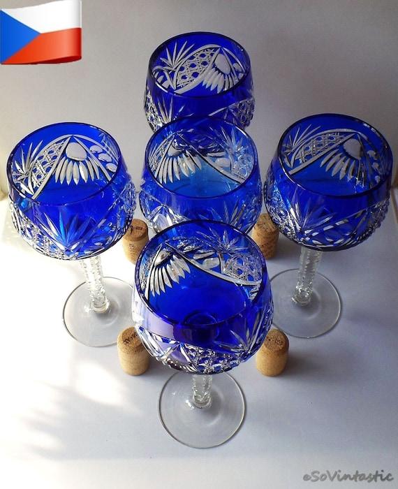 5 Bohemian Crystal Goblets Crystal Wine Hocks Deep Blue