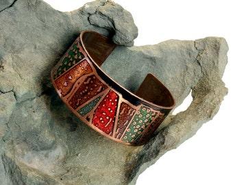 Etched & Colored Copper Geologic Stratigraphic Column Cuff Bracelet