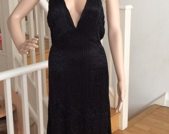 1920's 1930's halter neck black silk satin beaded dress