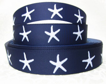 Starfish 7/8 inch Grosgrain Ribbon by the Yard for Hairbows, Scrapbooking, and More!!