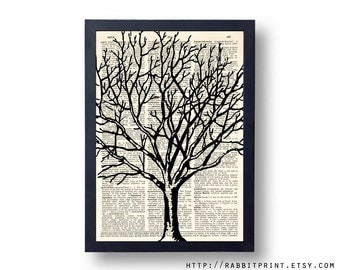 Winter Tree Dictionary art print, Tree of Life Wall Art, 8x10 illustration Book Print Wall Decal, Upcycled Dictionary Page print Wall decor