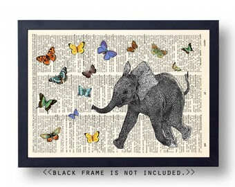 Baby Elephant Dictionary Art Print, Butterfly Wall Art, Wall Decor Poster Sign, 8x10 Upcycled Dictionary Page Print