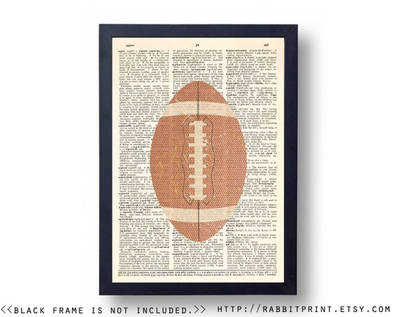 Football art prints wall art sports vintage wall by for Vintage basketball wall art