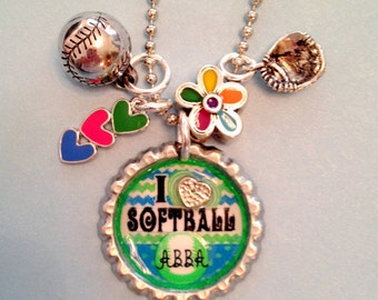 I Love Softball Bottlecap Necklace with Charms (or Keychain)