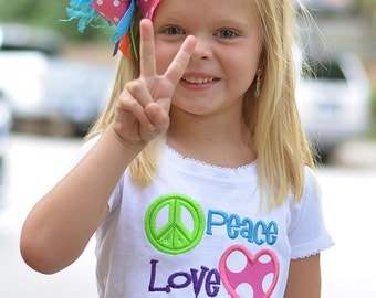 Peace Love PreK - Any Grade - Girls Back to School Applique Shirt & XL Matching Hair Bow Set with Puff