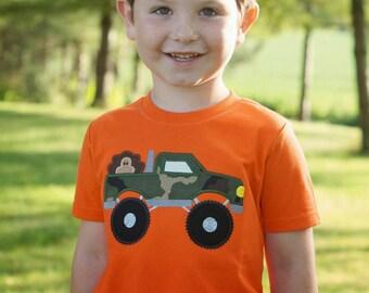 Camo Truck with Turkey - Boys Orange Applique Thanksgiving Shirt or Bodysuit