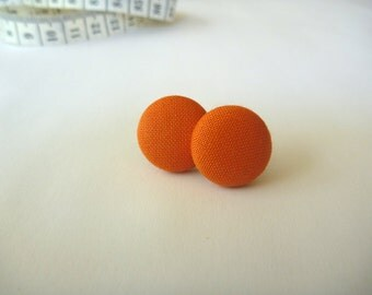 Orange Fabric Button Post Earring.
