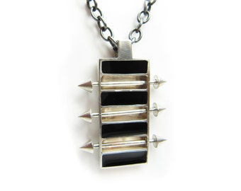 Geometric rectangle necklace, gothic pendant, resin pendant, gothic necklace, men necklace, studs and spikes, jewelry for men