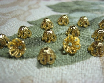 Clearance! 72 Darling Bell Flower Caps. 6x5mm Gold Plate Iron Filigree. Pliable, Adjustable. Sweet Cap For Tiny Dangles. Last Few Lots!