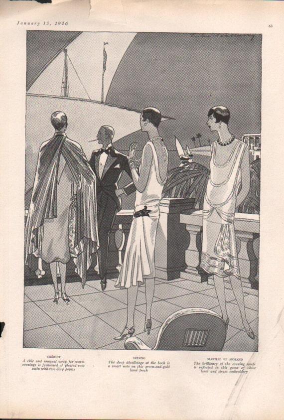 Three for four art deco era fashion print from vogue magazine for Art deco era clothing