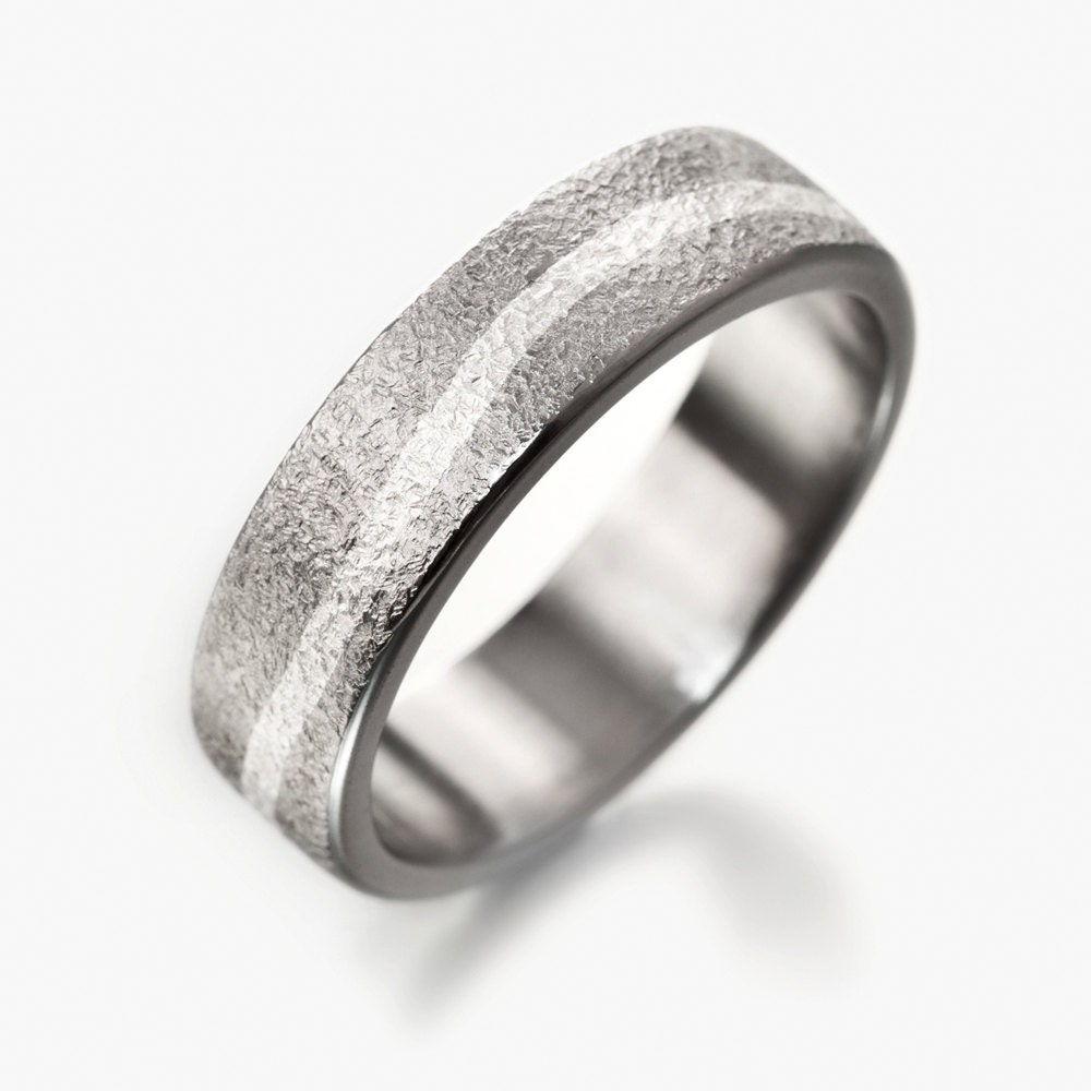 Two Tone Unisex Wedding Band Simple Titanium Ring With Silver