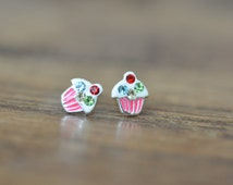 Sterling Silver Cupcake Earrings, Children's Earrings, Kid's Sterling Silver 925 Stud Earrings, Fun Earrings 925