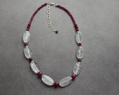 Faceted Rubies and Clear Quartz Necklace Sterling Silver Accents Adjustable with 3 Inches of Sterling Silver Chain and Lobster Claw Clasp