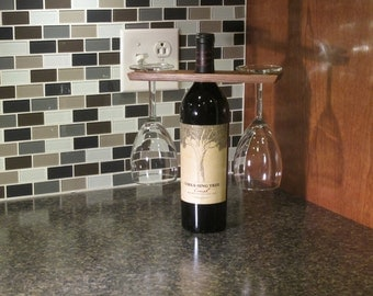 Wine glass hanger and bottle display.  Wine table setting.