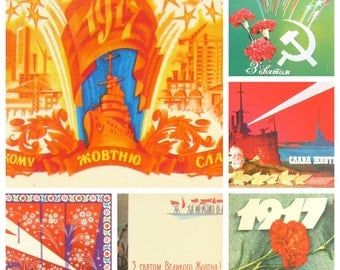 Glory to October, Set of 6 Soviet Postcards, Aurora, October Revolution, Soviet Union Vintage Postcard, USSR, Used Postcards, 1970s