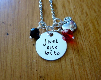 """Snow White Inspired Necklace. Poison Apple. Evil Queen Villain. """"Just One Bite"""". Snow White. Silver colored.  crystal. Halloween."""