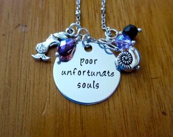 Little Mermaid Inspired Necklace. Villain Ursula Necklace. Poor Unfortunate Souls. Silver colored,  Swarovski Elements crystals.