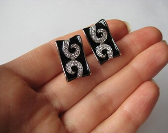 New Black Gemstone Sterling silver vintage earrings