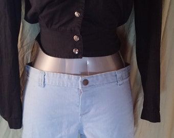 Ditto's Shorts Actual 1970's Blue Cotton Hip Hugger Shorts in Excellent Condition.