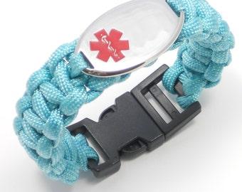 Paracord Medical Alert Id Bracelet Kids Womens By