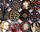 Vintage Stained Glass Window Designs from Middle Ages France and England, 35 1-inch circles (rinchies), Digital Collage Sheet, 0128