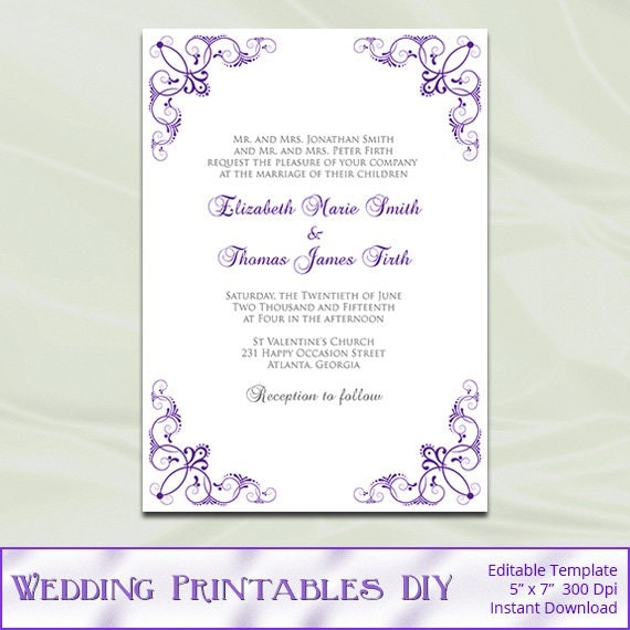 Silver And Purple Blank Invitations: Items Similar To Purple And Silver Wedding Invitation