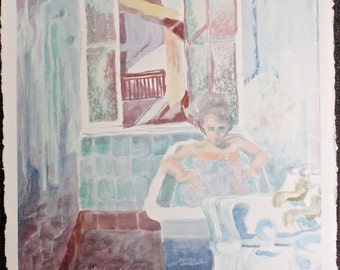 "Fine Art, Original Painting, Watercolor Painting, French Scene:  ""Biarritz Bathing"", Painting on Paper, Bathing Female Figure, Bath"