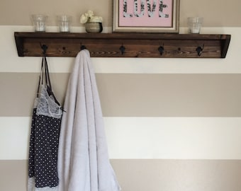 Five hook reclaimed wood towel rack // coat rack with shelf