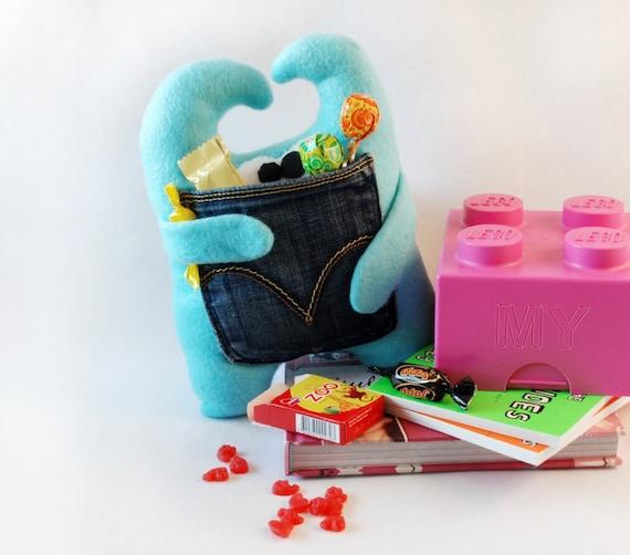 Plushie with pocket / Turquoise plush monster / Monster plushie with pocket / Gift for children and goofy adults -Turquoise plushie OPI
