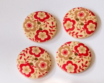 Large round wooden floral button