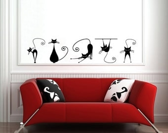 Wall Vinyl Decal Set of Five Swirly Cats