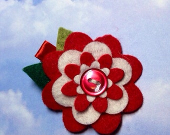 White and red felt flower hair clip