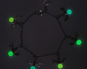 Glow in the dark firefly charm bracelet
