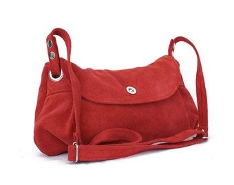 Coral red suede bag - Crossbody everyday suede bag in coral red / Bolso de ante rojo coral - suede collection