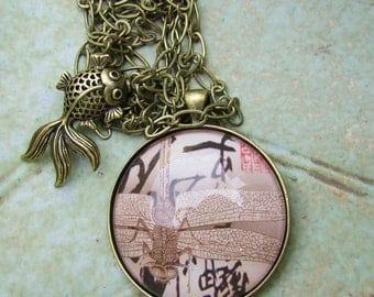 Japanese Inspired Brass Pendant with Drangonfly Image Under Polished Glass and Koi Charm