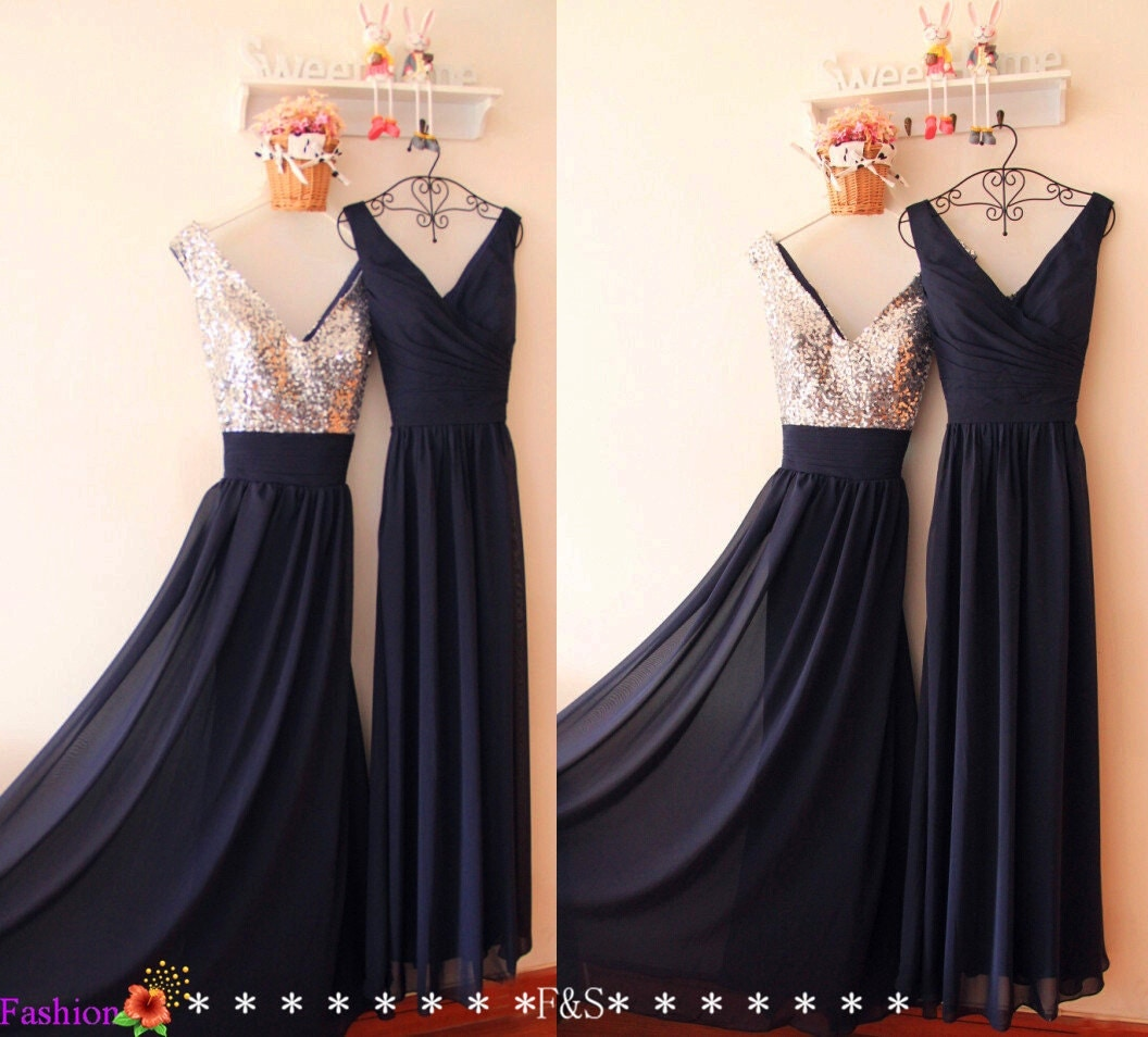 Navy prom dresses 2017 sequin dresses long bridesmaid dress zoom ombrellifo Images